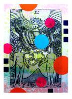 "Arcanum, mixed media monoprint, 9"" x 11"" framed"